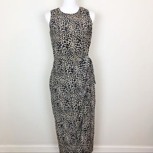 Spencer Jeremy Cheetah print side wrap maxi dress